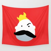 viking Wall Tapestries featuring Moustache Viking by andy fielding