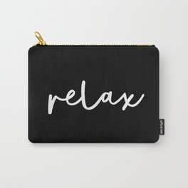 Relax black and white contemporary minimalism typography design home wall decor bedroom Carry-All Pouch