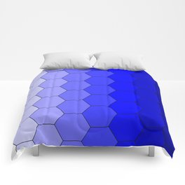 Hexagons (Blue) Comforters