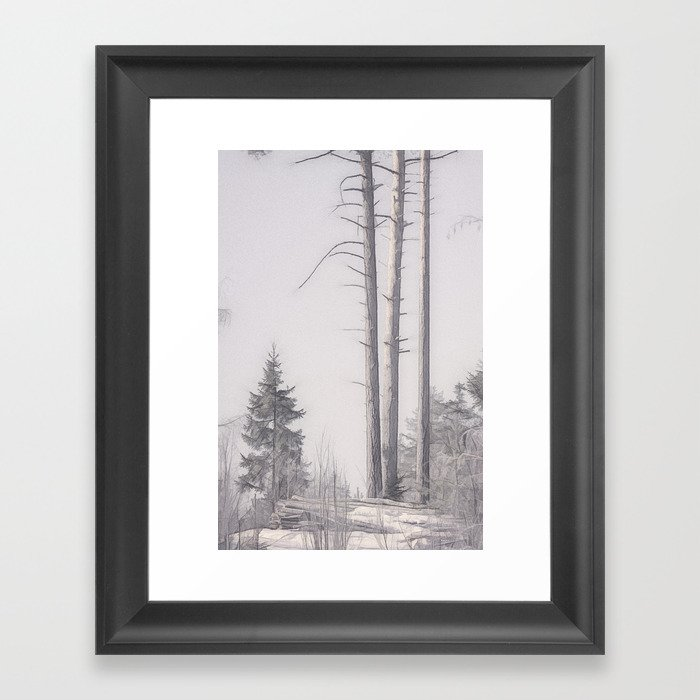 of wolf and man... and snow Framed Art Print