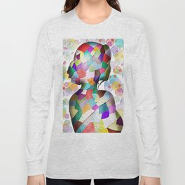Abstract Mosaic Woman Silhouette Long Sleeve T-shirt