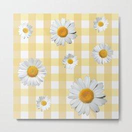 Spring Bloom | Yellow Plaid Metal Print