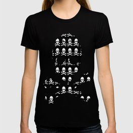 Skull and XBones in Black and White T-shirt