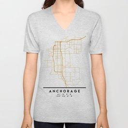 ANCHORAGE ALASKA CITY STREET MAP ART Unisex V-Neck