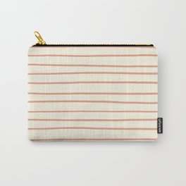 Earthen Trail Pink 4-26 Hand Drawn Horizontal Lines on Dover White 33-6 Carry-All Pouch