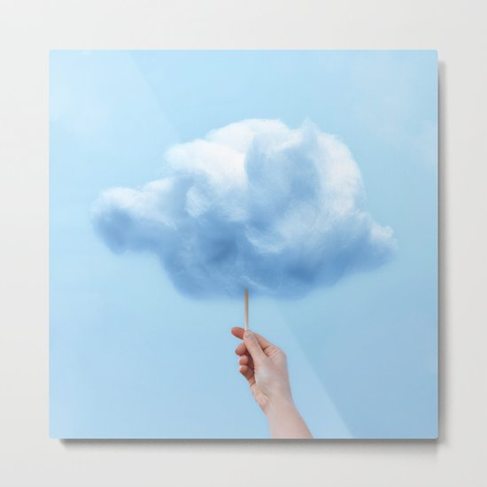 RAINY COTTON CLOUD Metal Print