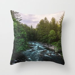 PNW River Run II - Pacific Northwest Nature Photography Throw Pillow