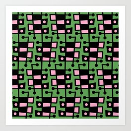 Mid Century Modern Abstract 212 Green and Pink Art Print