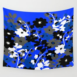 SUNFLOWER TRELLIS BLUE BLACK GRAY AND WHITE TOILE Wall Tapestry