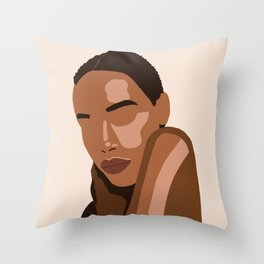 Black woman art, Black Woman Illustration, Female Portrait Print, Modern art, Black Girl Wall Art,African woman Art,African american Throw Pillow