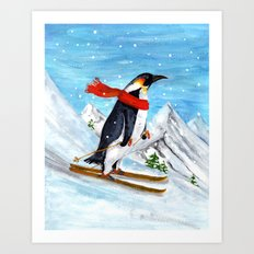 Penguin Alpine Skiing Art Print