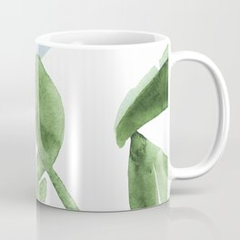 Tropical Leaves Green And Blue Coffee Mug
