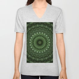 Mandala in olive green tones Unisex V-Neck