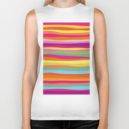 Bold Colorful Stripes Waves Biker Tank