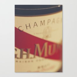 Champagne bottle, macro photography of old wine label on museum paper, still life, bar, home decor Canvas Print