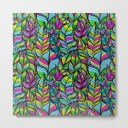 Neon Feathers Repeating Pattern Metal Print