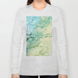Abstract modern teal brown marble tree pattern Long Sleeve T-shirt