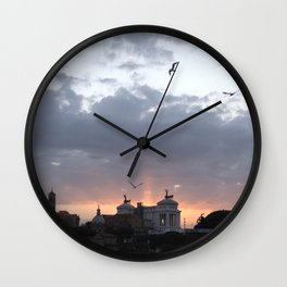 Flying over Rome Wall Clock