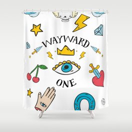 Wayward One - Old School Tattoo Flash Art Shower Curtain
