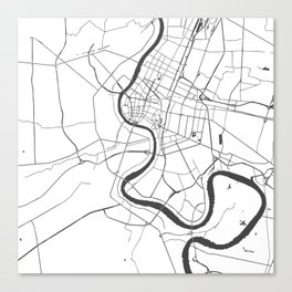 Bangkok Thailand Minimal Street Map - Gray and White Canvas Print