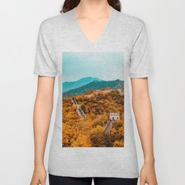 The Great Wall of China in Autumn (Color) Unisex V-Neck