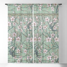 Almond Blossoms Walter Crane vintage Sheer Curtain