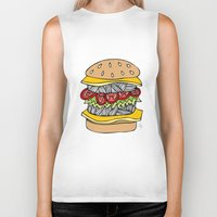burger Biker Tanks featuring Burger by Amber Lily Fryer