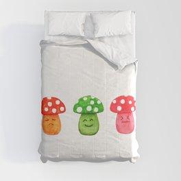 funny mushroom watercolor painting Comforters