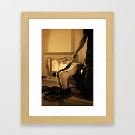 Whipped Vintage - Man is whipping a beautiful naked woman Framed Art Print