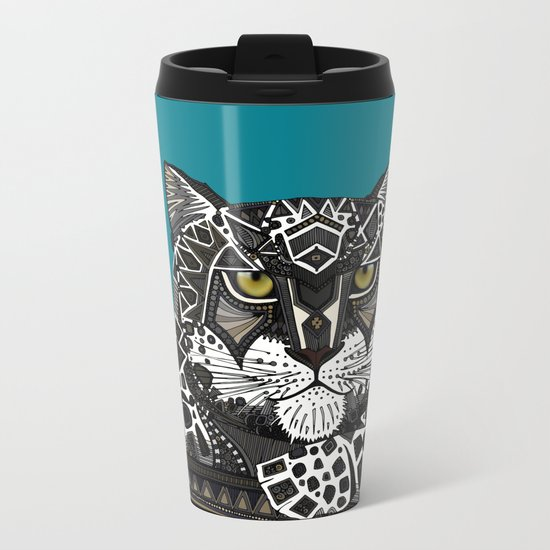 snow leopard teal Metal Travel Mug
