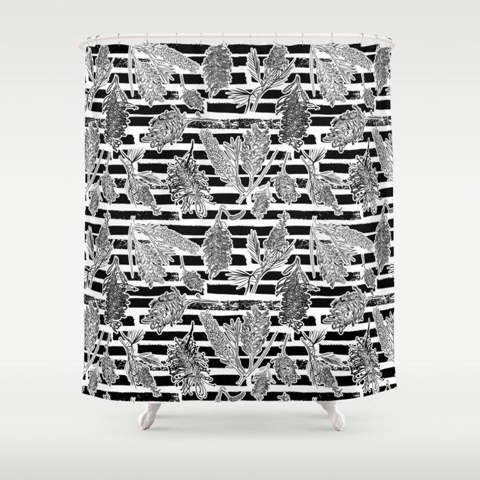 Beautiful Black and White Australiana Print Shower Curtain