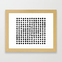 Black and White Minimal Minimalistic Polka Dots Brush Strokes Painting Framed Art Print
