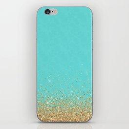 Sparkling gold glitter confetti on aqua teal damask background iPhone Skin
