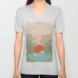 Pink sunrise over sea waves art moderne Unisex V-Neck