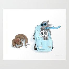 Dachshund Driver Art Print