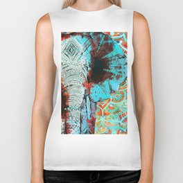 Indian Sketch Elephant Blue Orange Biker Tank