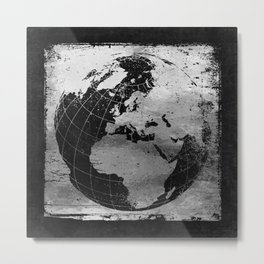 Old Metal Chart of the Earth Metal Print