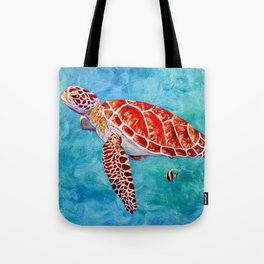 Sea turtle and friend Tote Bag