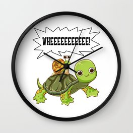 Cute & Funny Snail Riding on Turtle Yelling Whee Wall Clock