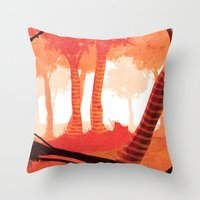 forrest Throw Pillows featuring Dawn forrest by Rafael T. Pimentel