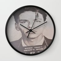 frank sinatra Wall Clocks featuring Frank Sinatra Mugshot (Front)  by All Surfaces Design