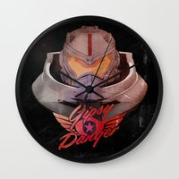pacific rim Wall Clocks featuring Jaeger - Kaiju Hunter from Pacific Rim  by Thecansone