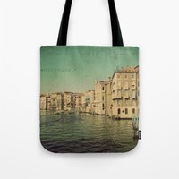 postcard Tote Bags featuring Venice postcard by Sylvia Cook Photography