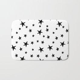 Stars - Black on White Bath Mat