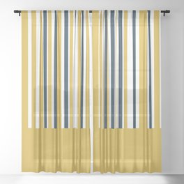 Mustard Yellow Navy Blue and White Half Stripe Color Block Pattern 2 Sheer Curtain