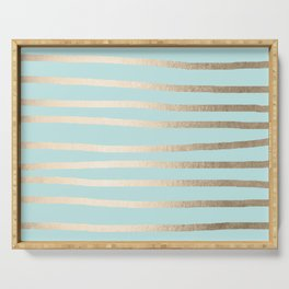 Simply Drawn Stripes White Gold Sands on Succulent Blue Serving Tray