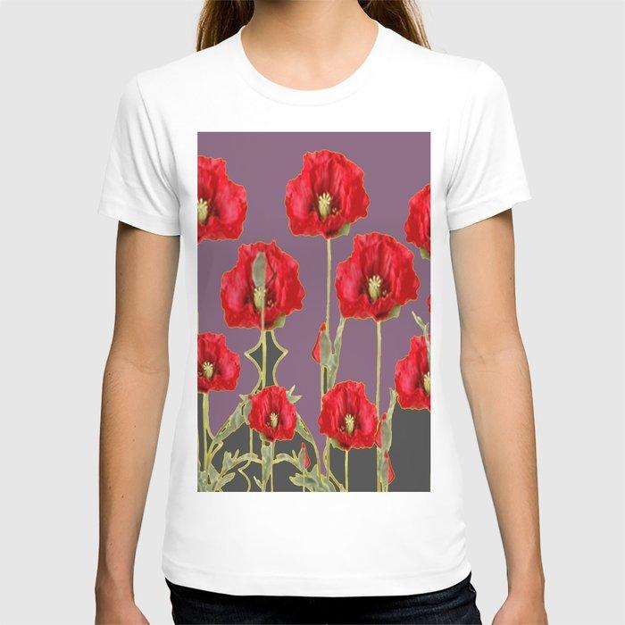 ART NOUVEAU RED POPPIES PUCE ART T-shirt