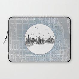 Chicago, Illinois City Skyline Illustration Drawing Laptop Sleeve