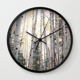 Colorado Aspen Grove in Autumn Wall Clock