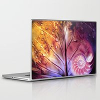fibonacci Laptop & iPad Skins featuring SHELTERED - Conceptual Composing with shell, leaf and waterdrops by VIAINA
